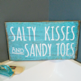 "50% off Rustic coastal sign ""salty kisses and sandy toes"